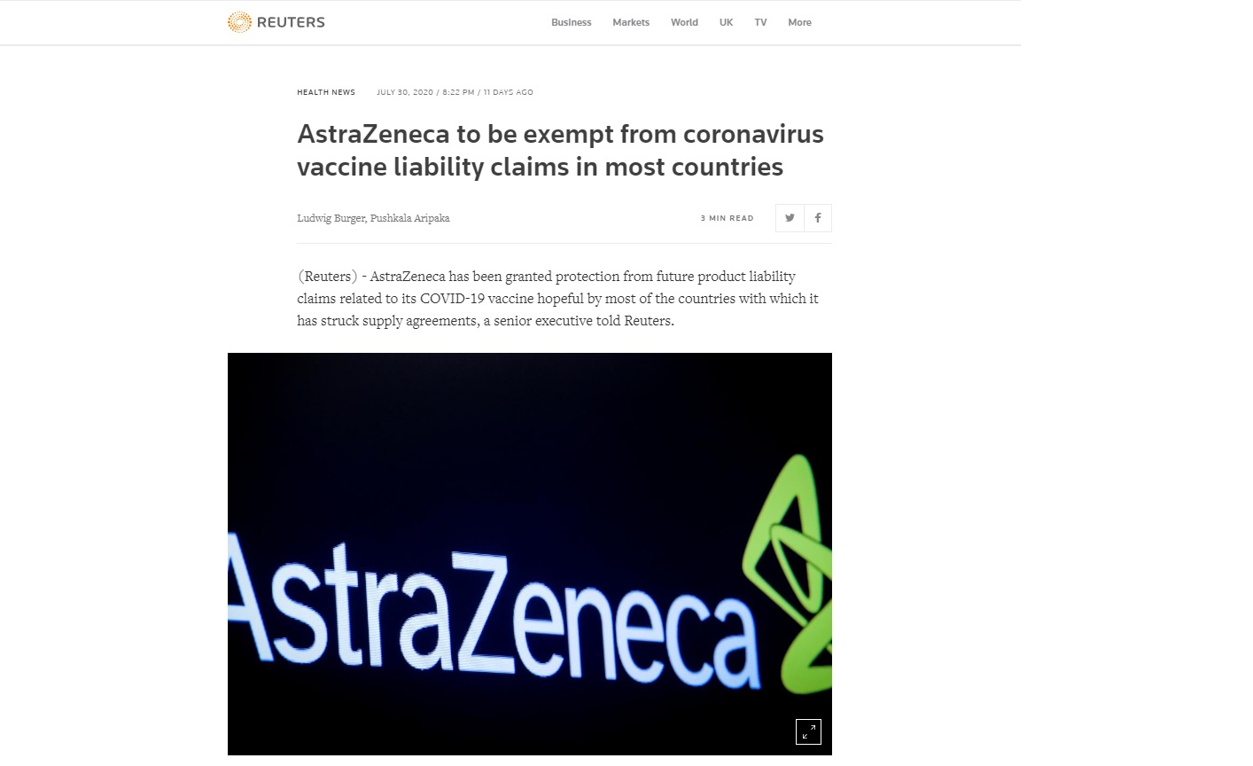 Спасайся кто может! — Представитель #AstraZeneca сообщил Reuters, что его компании предоставили защиту от всех судебных исков, если вакцина компании приведет к разрушительным побочным эффектам. (11.08.20)