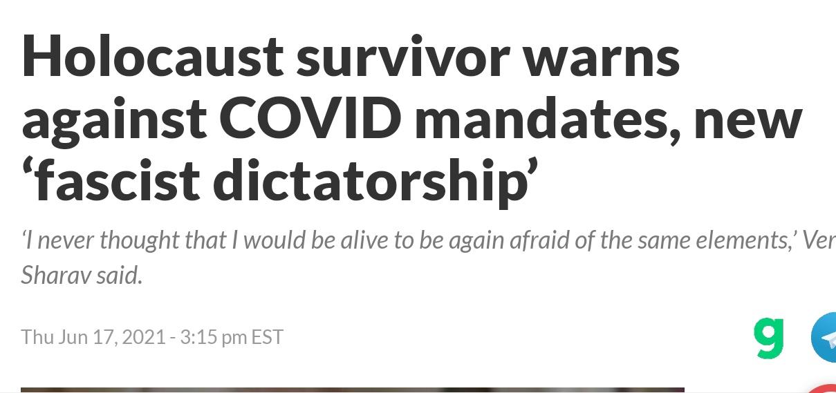 Вера Шарав: «Правительство не должно лезть в нашу личную жизнь, в наши медицинские решения. Что это? Откуда это взялось? Это началось с нацистов. Я никогда не думала, что доживу до того, чтобы вновь бояться того же самого» (17.06.21)
